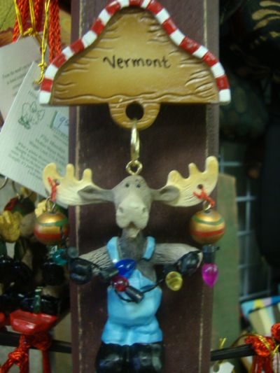 Moose with Christmas Lights Ornament