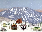 Limited Edition Okemo Mountain/Ludlow Folk Art Print and Notecard by Vermont artist Martha Stevenson